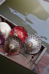 Thailand, Bangkok: Thai hats for sale at the Floating Market