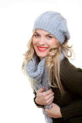 happy winter woman with nice smile and teeth.
