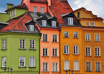 Colorful houses of Warsaw