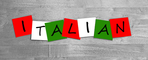 Italian, word sign series for Italy, cuisine, in national colors