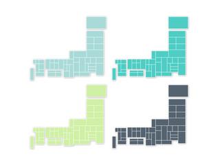 日本地図グリーン系