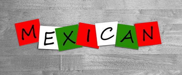 Mexican, sign series, in national colours, for travel & cooking.