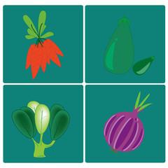 vector vegetables set on blue background