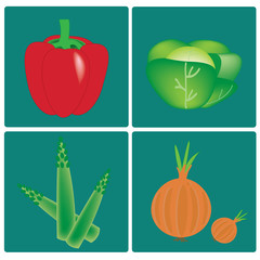 vector vegetables set on blue background
