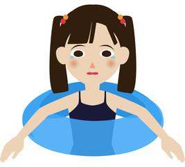 小学生 女の子 上半身 夏 海 プール