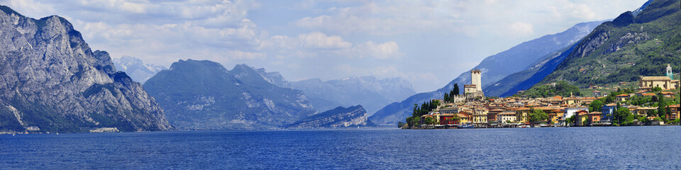 panorama of beautiful  Lago di Garda, Malcesine. Italy