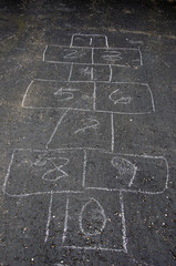hopscotch game on asphalt