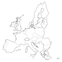 vector europe borders outline