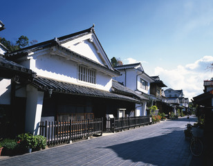Rows of houses of Takehara, Hiroshima Prefecture, Japan