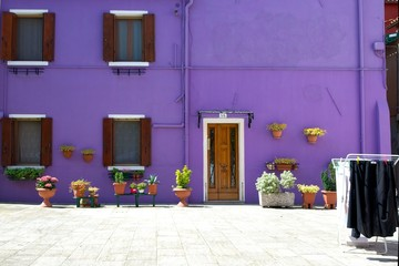 Violet house in Burano's Island, Venice