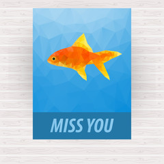 Cute polygonal goldfish vector design for card