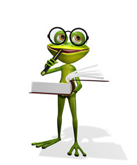 frog and books