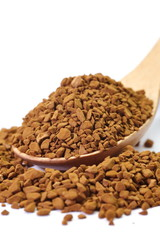 close up instant coffee powder on white