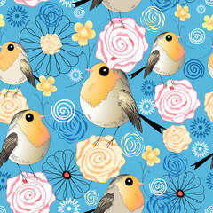 pattern of birds and flowers