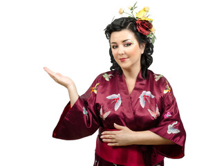 Kimono Caucasian woman raised her right hand
