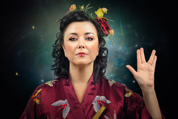 Kimono woman showing Spoke sign