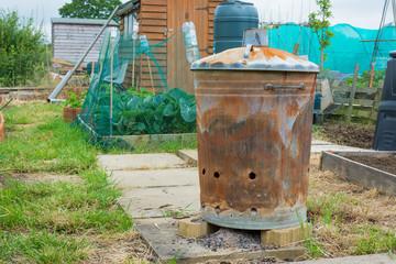 Outdoor incinerator for allotment or garden