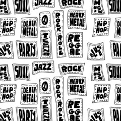 Doodle Music words seamless pattern
