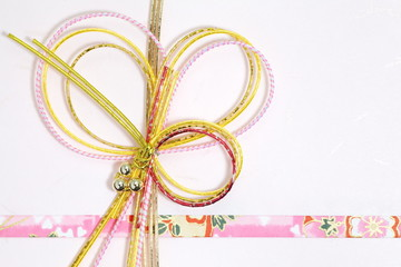 Traditional japanese gift envelope on white background