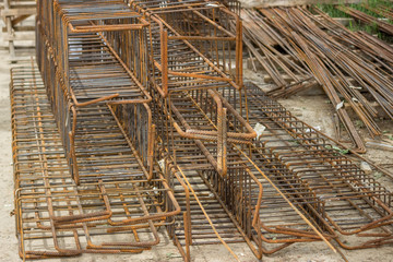 tied rebar beam cages