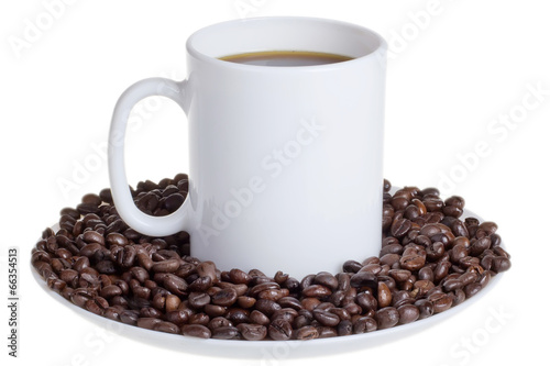 Fotobehang Koffiebonen Coffee beans with a cup of coffee