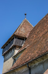 Detail of the fortified church in the Romanian town of Copsa Mar