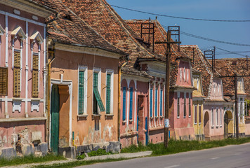 Colorful houses in the Romanian town of Biertan
