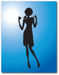 Teen Girl Silhouette Vector Clipart Design Illustration