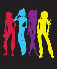 Women Silhouette Vector Clipart Design Illustration