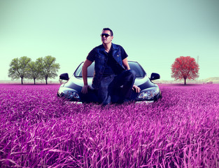 Dreamscape and man portrait and car.Leisure and recreation.