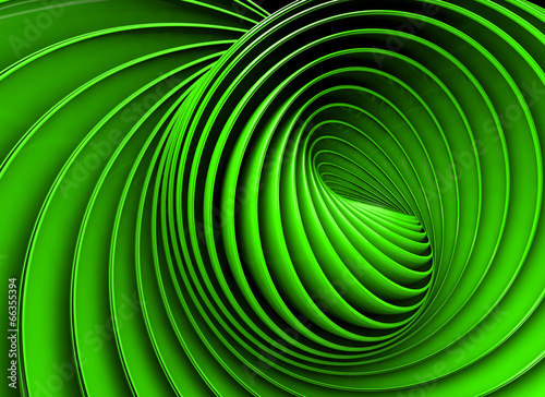 Abstract 3d spiral or twirl in green toned