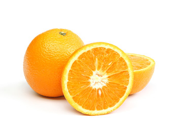 Citrus fruits on white background.