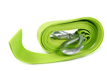 Tow rope for car on white background.