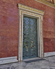 vintage door of the academy of Athens, Greece
