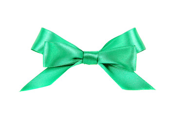 Bow of green ribbon on a white background.