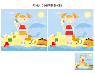 find 10 differences -  summer / little girl