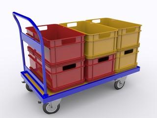 Plattformwagen mit Plastik Kisten