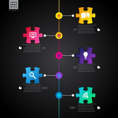 Dark Infographic template with puzzle, lines and icons - vector