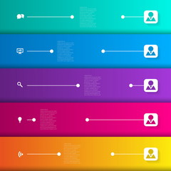 Infographic template with horizontal lines and icons - vector il