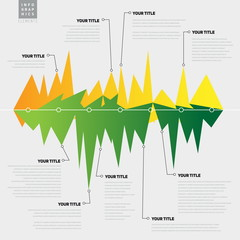Infographic template with lines with peaks, graph theme - vector