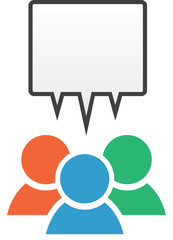 Icon with group in different colors with blank speech bubble