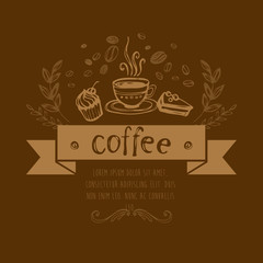 Coffee Background. Vector Elements of Design