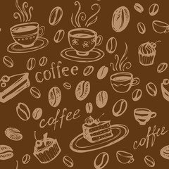 Coffee Background. Vector Seamless Pattern