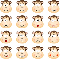 Cute monkey with different expressions