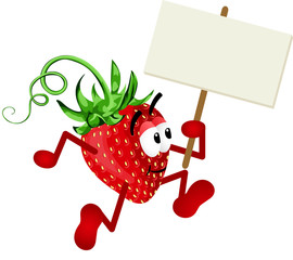 Strawberry Holding Blank Signboard