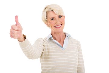 mature woman giving thumb up