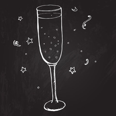Glass of champagne with bubbles and stars. Vector sketched
