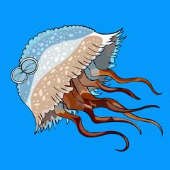 cartoon jellyfish swimming