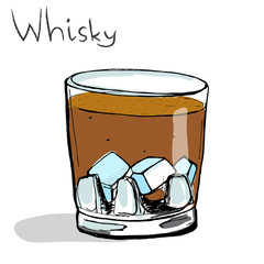 Glass of whisky with ice. Colored vector illustration,