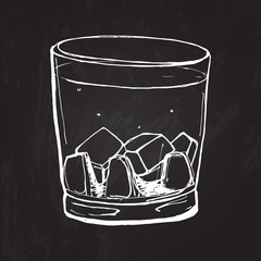 Glass of whisky. Vector sketched illustration at the blackboard